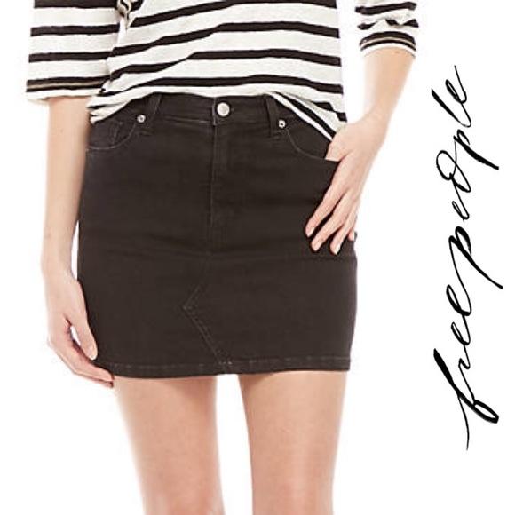 Black mini skirts size 28 Free People Skirts Free People Nwt Black Denim Mini Skirt Size 28 Poshmark
